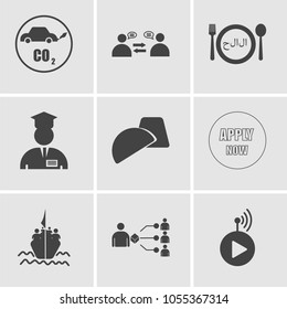 Set Of 9 simple editable icons such as livestream, supplier, refugee, apply now, truffle, internship, halal, consolidation, co2 emissions, can be used for mobile, web UI, pixel perfect icons