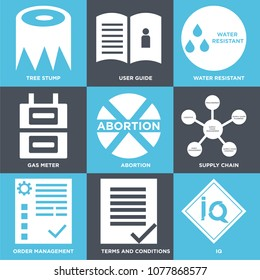 Set Of 9 simple editable icons such as IQ, terms and conditions, order management, supply chain, abortion, gas meter, water resistant, user guide, tree stump, can be used for mobile, web UI
