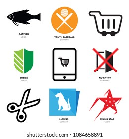 Set Of 9 simple editable icons such as rising star, lioness, Scissors, no entry, On, sheild, Shopping, youth baseball, catfish, can be used for mobile, web