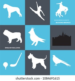Set Of 9 simple editable icons such as english bulldog, bucking bronco, , can be used for mobile, web, pixel perfect icon collection