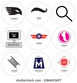 Set Of 9 simple editable icons such as no entry, shop cart m, fire dept, podiatry, Airforce, On, Search, Black swish, air force, can be used for mobile, web, pixel perfect icon collection