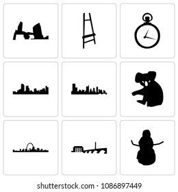 Set Of 9 simple editable icons such as snowman, dc, st louis, koala, austin, denver, pocket watch, painter easel, long island, can be used for mobile, web, 48x48 icon