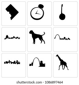 Set Of 9 simple editable icons such as giraffe, missouri, denver, st louis, boxer dog, banjo, pocket watch, dc, can be used for mobile, web, 48x48 icon