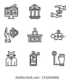 Set Of 9 simple editable icons such as Bribe, Growth, Wolf, Piggy bank, Corruption, Bribe, Bribe, Banking, Growth, can be used for mobile, pixel perfect vector icon pack