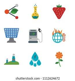Set Of 9 simple editable icons such as Flower, Water, Nuclear plant, Global warming, Gas station, Solar panel, Strawberry, Flask, Share, can be used for mobile, pixel perfect vector icon pack