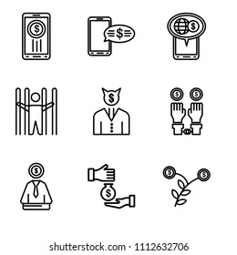 Set Of 9 simple editable icons such as Growth, Corruption, Bribe, Illegal, Businessman, Jail, On, On, Smartphone, can be used for mobile, pixel perfect vector icon pack