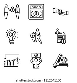 Set Of 9 simple editable icons such as Trap, Bribe, Analytics, Invoice, Steal, Idea, Bribe, Money, Bribe, can be used for mobile, pixel perfect vector icon pack