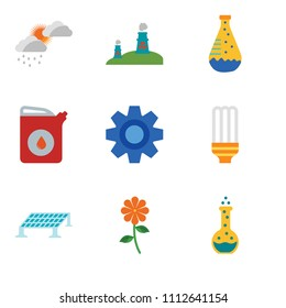 Set Of 9 simple editable icons such as Flask, Flower, Solar panel, Light bulb, Settings, Gaso, Flask, Nuclear plant, Cloudy, can be used for mobile, pixel perfect vector icon pack