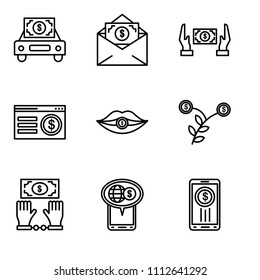 Set Of 9 simple editable icons such as Smartphone, On, Bribe, Growth, Corruption, On, Bribe, Bribe, Car, can be used for mobile, pixel perfect vector icon pack