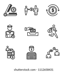 Set Of 9 simple editable icons such as Bribe, Prisoner, Invoice, Steal, Paying, Police, Exchange, Corruption, Trap, can be used for mobile, pixel perfect vector icon pack