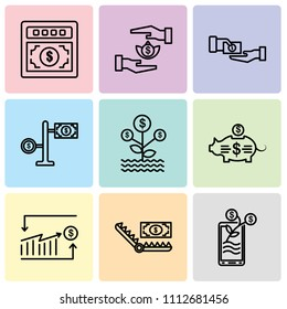 Set Of 9 simple editable icons such as Growth, Bribe, Analytics, Piggy bank, Growth, Money, Bribe, Bribe, Money, can be used for mobile, pixel perfect vector icon pack