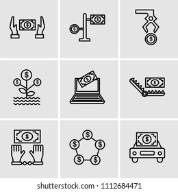 Set Of 9 simple editable icons such as Car, Money, Bribe, Bribe, Laptop, Growth, Steal, Money, Bribe, can be used for mobile, pixel perfect vector icon pack