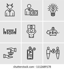 Set Of 9 simple editable icons such as Bribe, Growth, Bribe, Piggy bank, Bribe, Corruption, Idea, Salary, Corruption, can be used for mobile, pixel perfect vector icon pack
