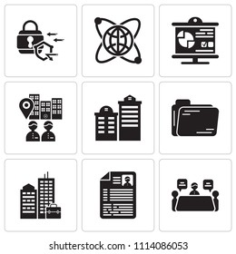 Set Of 9 simple editable icons such as Meeting, Resume, Building, Folder, Building, Visitor, Presentation, Globe, Padlock, can be used for mobile, pixel perfect vector icon pack