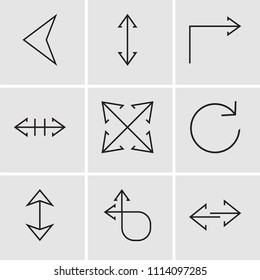 Set Of 9 simple editable icons such as Transfer, Circular arrow, Sort, Refresh, Expand, Double arrow, Turn right, Double arrow, Left arrow, can be used for mobile, pixel perfect vector icon pack