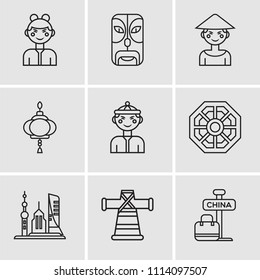 Set Of 9 simple editable icons such as China, Fashion, Skyscrapers, Pa kua mirror, Chinese, Paper lantern, Chinese, Mask, Chinese, can be used for mobile, pixel perfect vector icon pack