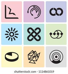 Set Of 9 simple editable icons such as Loading process, Interlinked web, Pie chart, Points connected chart, Interlocking, Loading indicator, Loop, Update arrows, Loss chart, can be used for mobile,