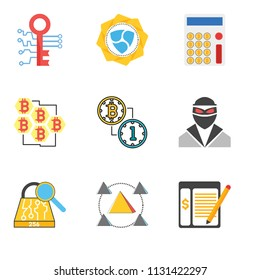 Set Of 9 simple editable icons such as Ledger, Block, Sha 2, Thief, Bitcoin, Bitcoin, Calculator, Nem, Digital key, can be used for mobile, pixel perfect vector icon pack