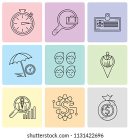Set Of 9 simple editable icons such as Money bag, Money, Analysis, Placeholder, Emotions, Vacations, Id card, Job search, Stopwatch, can be used for mobile, pixel perfect vector icon pack