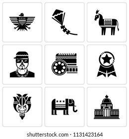 Set Of 9 simple editable icons such as White house, Republican, Bison, Badge, Route 66, Rapper, Democratic, Kite, Eagle, can be used for mobile, pixel perfect vector icon pack
