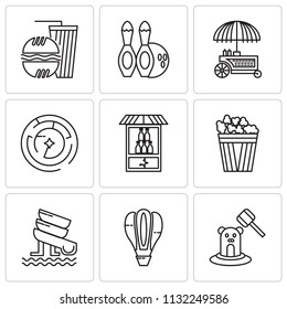 Set Of 9 simple editable icons such as Whack a mole, Hot Air Balloon, Water Slide, Popcorn, Bottle, Labyrinth, Food stand, Skittles, Fast food, can be used for mobile, pixel perfect vector icon pack