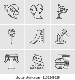 Set Of 9 simple editable icons such as Fast food, Water Slide, Swing, Whack a mole, Toboggan, Lollipop, Fair Ship, Balloons, Ghost, can be used for mobile, pixel perfect vector icon pack