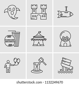 Set Of 9 simple editable icons such as Water Slide, Whack a mole, Balloon, Candy machine, Circus, Fast food, Rocket, Castle, Ghost, can be used for mobile, pixel perfect vector icon pack
