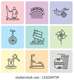 Set Of 9 simple editable icons such as Fast food, Bump Car, Whack a mole, Pinwheel, Water Slide, Unicycle, Duck Shooting, Roller coaster, Game, can be used for mobile, pixel perfect vector icon pack