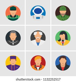 Set Of 9 simple editable icons such as Businesswoman, Showman, Concierge, Journalist, Scientist, Priest, Soldier, Astronaut, Loader, can be used for mobile, pixel perfect vector icon pack