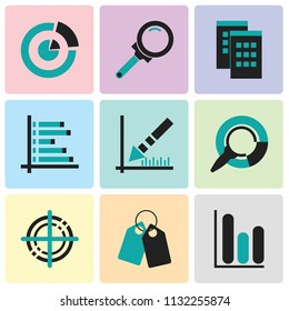 Set Of 9 simple editable icons such as Cylindrical data graphic, Tags, Targeting, Pie chart analysis interface, Data analytics descending, Data analytics bars chart with descendant, Data windows,