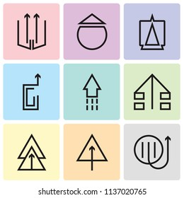 Set Of 9 simple editable icons such as Up arrow, pixel perfect vector icon pack