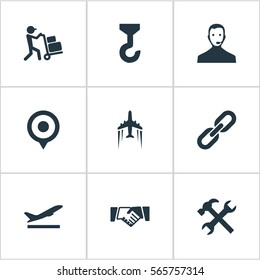 Set Of 9 Simple Engineering Icons. Can Be Found Such Elements As Marker, Employee, Supporting And Other.
