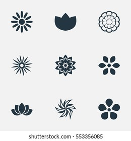 Set Of 9 Simple Flower Icons. Can Be Found Such Elements As Water Lily;, Laurel, Floral And Other.
