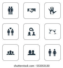 Set Of 9 Simple Friends Icons. Can Be Found Such Elements As Unity, Beloved, Fellows And Other.