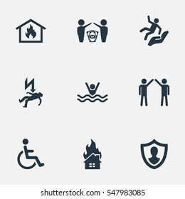Set Of 9 Simple Fuse Icons. Can Be Found Such Elements As Protect Currency, Handicapped, Smothered Male.