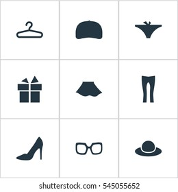 Set Of 9 Simple Garments Icons. Can Be Found Such Elements As Rack, Elegant Headgear, Eyeglasses And Other.