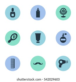 Set Of 9 Simple Hairdresser Icons. Can Be Found Such Elements As Flask, Aroma, Peeper And Other.