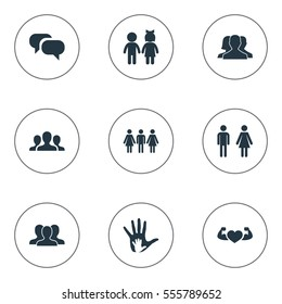 Set Of 9 Simple  Icons. Can Be Found Such Elements As Children, Unity, Gossip And Other.