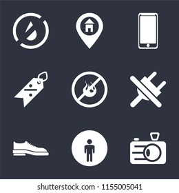 Set Of 9 simple icons such as Camera, Restroom, Shoes, No plug, fire, Discount, Smarthphone, Location, water, can be used for mobile, pixel perfect vector icon pack on black background