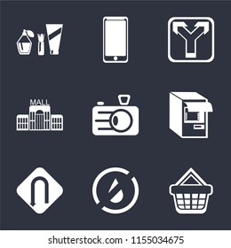Set Of 9 simple icons such as Shopping basket, No water, Turn, Atm, Camera, Mall, Junction, Smarthphone, Cosmetics, can be used for mobile, pixel perfect vector icon pack on black background