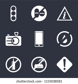 Set Of 9 simple icons such as Warning, No wifi, alcohol, water, Smarthphone, Camera, Information point, drugs, Traffic light, can be used for mobile, pixel perfect vector icon pack on black