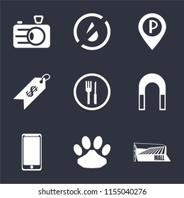 Set Of 9 simple icons such as Mall, Pet, Smarthphone, Magnet, Restaurant, Price, Parking, No water, Camera, can be used for mobile, pixel perfect vector icon pack on black background