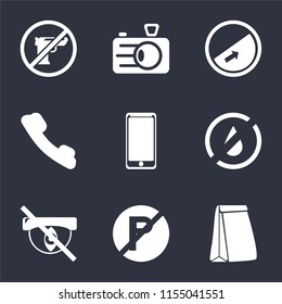 Set Of 9 simple icons such as Paper bag, No parking, Hidden, water, Smarthphone, Telephone, Slope, Camera, Gun, can be used for mobile, pixel perfect vector icon pack on black background