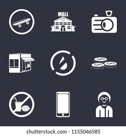 Set Of 9 simple icons such as Boy, Smarthphone, No food, Coins, water, Store, Camera, Mall, Skateboard, can be used for mobile, pixel perfect vector icon pack on black background