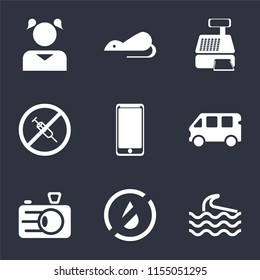 Set Of 9 simple icons such as Wave, No water, Camera, Bus, Smarthphone, drugs, Cashier machine, Rats, Girl, can be used for mobile, pixel perfect vector icon pack on black background
