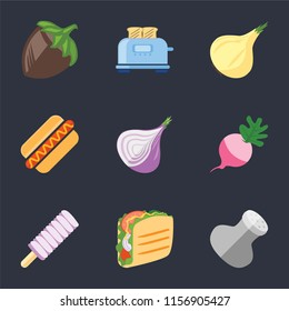 Set Of 9 simple icons such as Salt, Taco, Ice cream, Radish, Onion, Hot dog, Toaster, Hazelnut, can be used for mobile, pixel perfect vector icon pack on black background