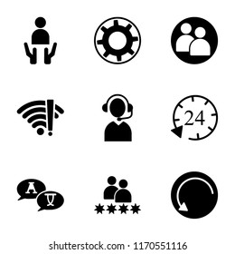 Set Of 9 simple icons such as Update, Rating, Translate, 24 hours, Telemarketer, No wifi, User, Settings, Customer, can be used for mobile, pixel perfect vector icon pack on white background