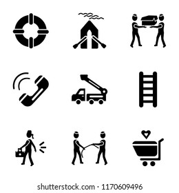 Set Of 9 simple icons such as Solidarity purchase, playing with a rope, Emergency, Ladder, Lifter, Emergency call, Men carrying box, Boat, Lifeguard, can be used for mobile, pixel perfect vector