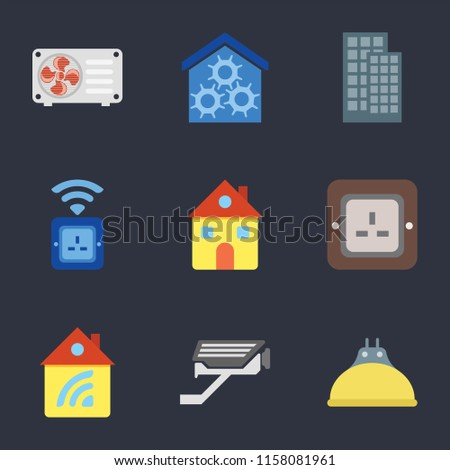 Set 9 Simple Icons Such Lightbulb Stock Vector (Royalty Free
