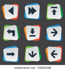 Set Of 9 Simple Indicator Icons. Can Be Found Such Elements As Let Down, Transfer, Advanced And Other.